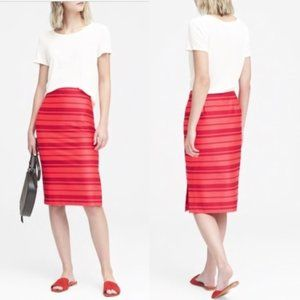 NWT Banana Republic Red Pink Stripe Pencil Skirt